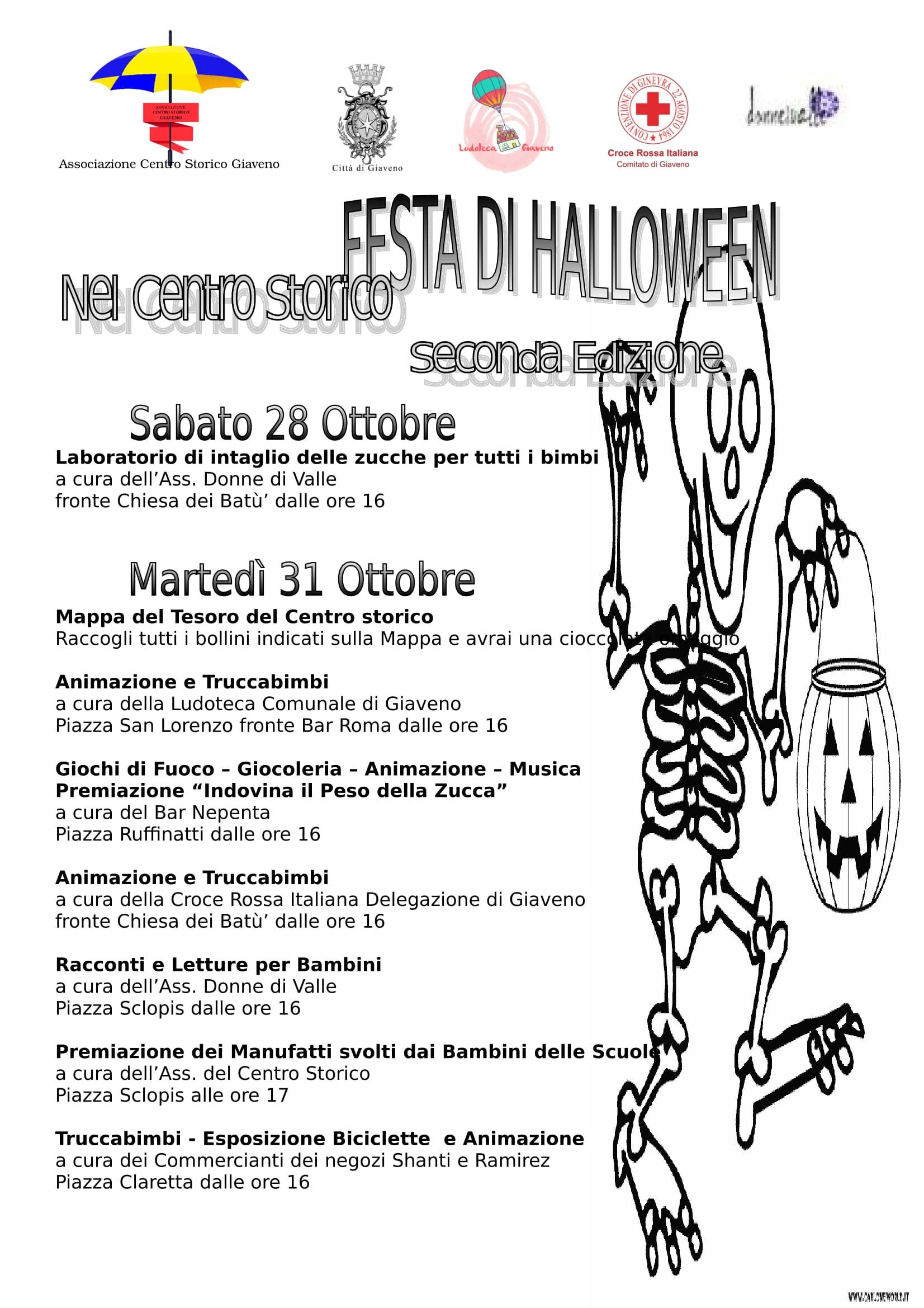 Festa di Halloween nel Centro Storico  – sabato 28 e martedì 31 ottobre 2017