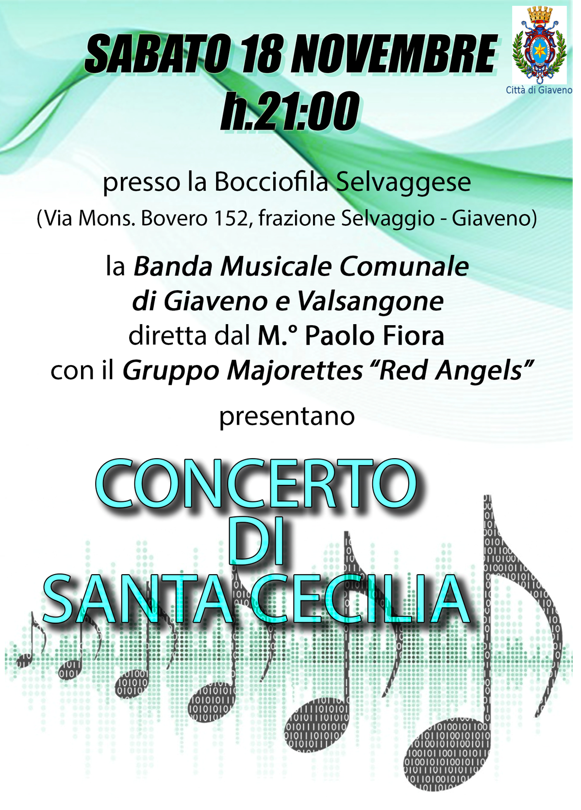 Concerto di Santa Cecilia  della Banda Musicale Comunale Giaveno Val Sangone  – sabato 18 novembre 2017
