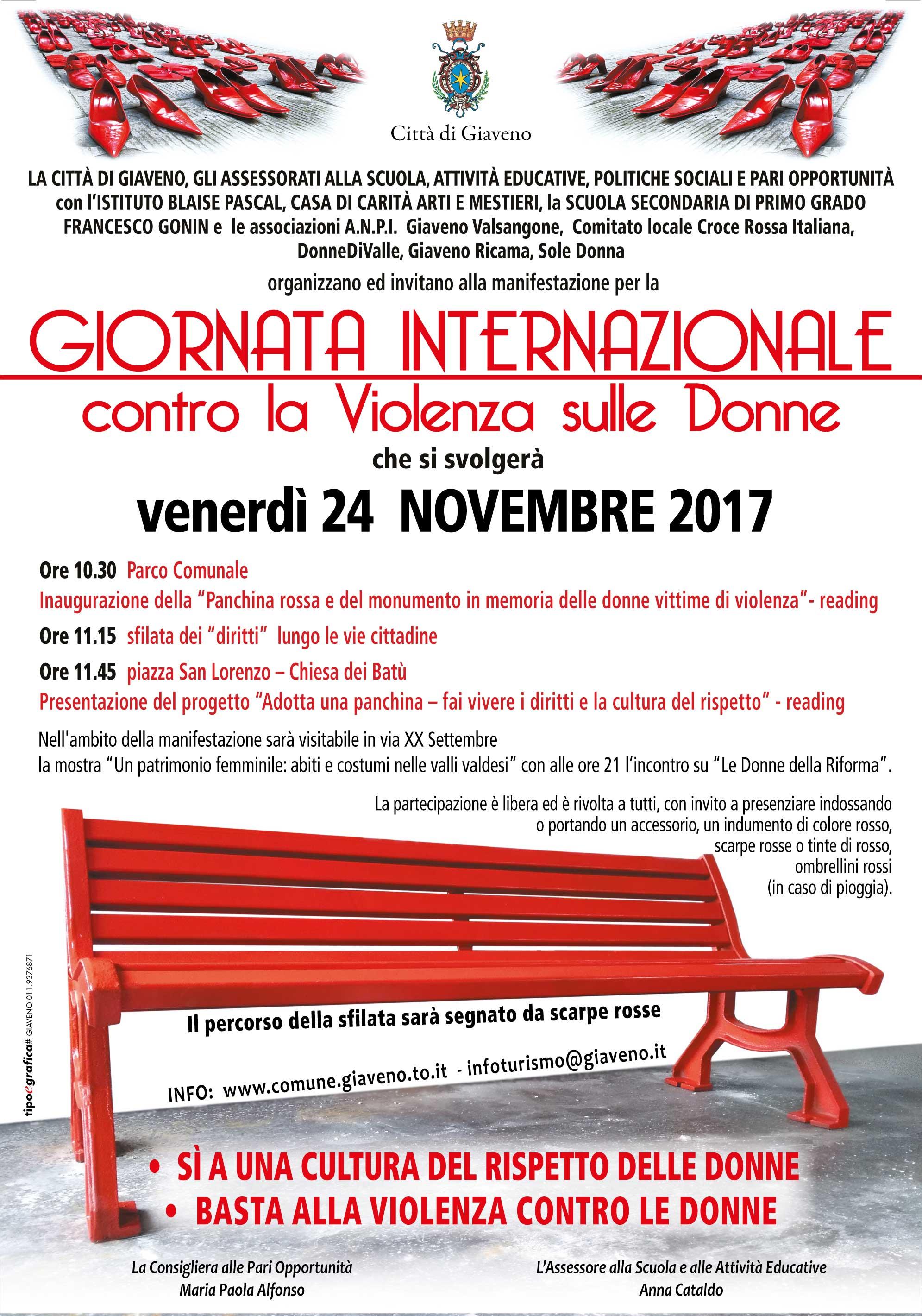 Giornata Internazionale contro la violenza sulle donne – Giaveno 24 novembre 2017
