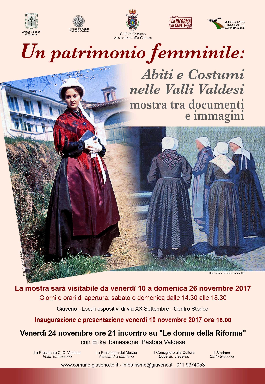 """Mostra """"Un patrimonio femminile: abiti e costumi nelle Valli Valdesi""""  ancora visitabile sabato 25 e domenica 26 novembre 2017"""