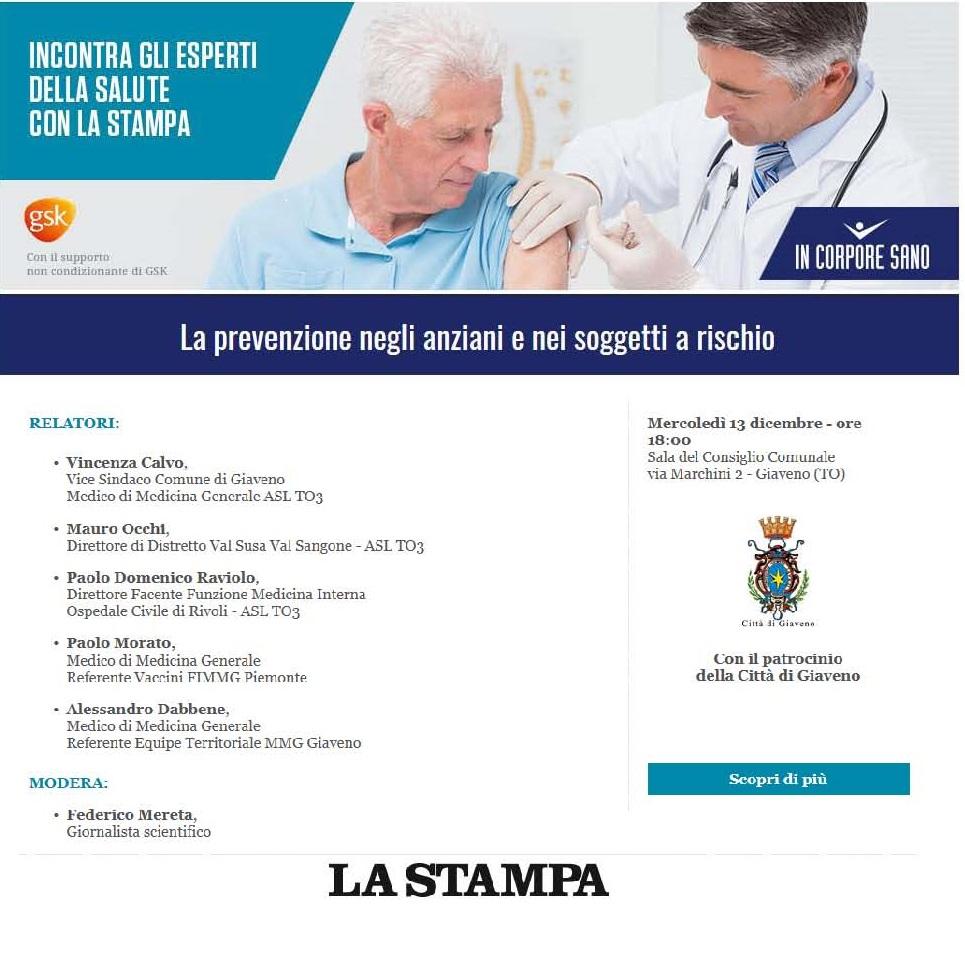 La prevenzione negli anziani e nei soggetti a rischio – incontro mercoledì 13 dicembre ore 18
