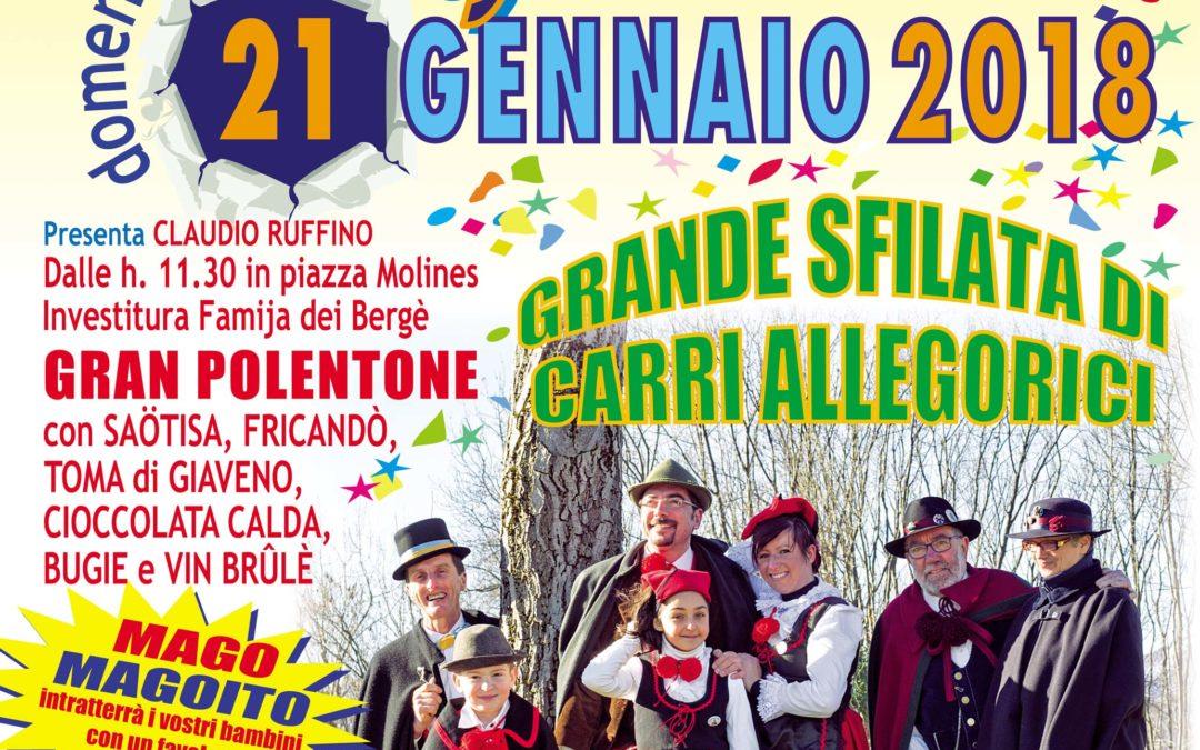 68° Carnevale Giavenese – domenica 21 gennaio 2018