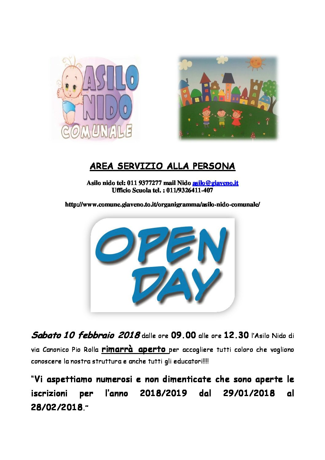 OPEN DAY 10 FEBBRAIO 2018 ASILO NIDO CANONICO PIO ROLLA