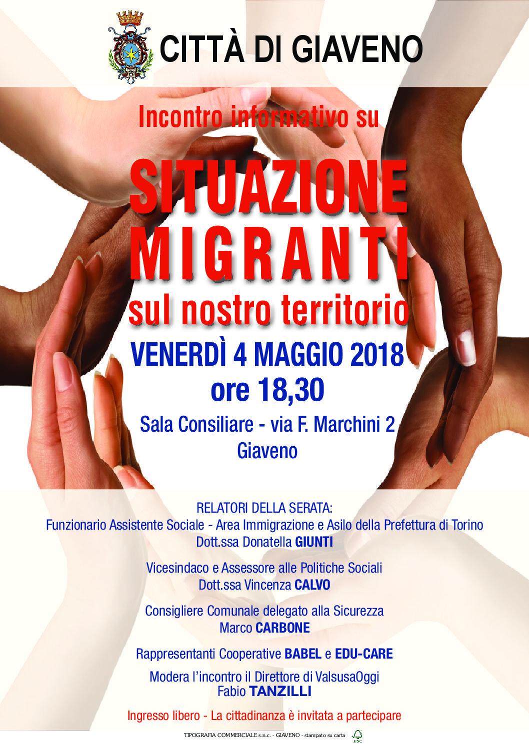 Situazione  Migranti  – incontro  Venerdì 4 maggio 2018