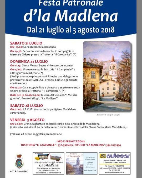 Festa Patronale  di borgata Maddalena – dal 21 al 3 agosto 2018
