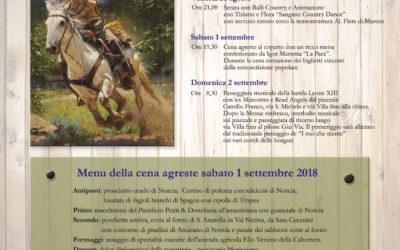 Borgata  Villa e Sabbioni – 30 e 31 agosto e 1 e 2 settembre 2018