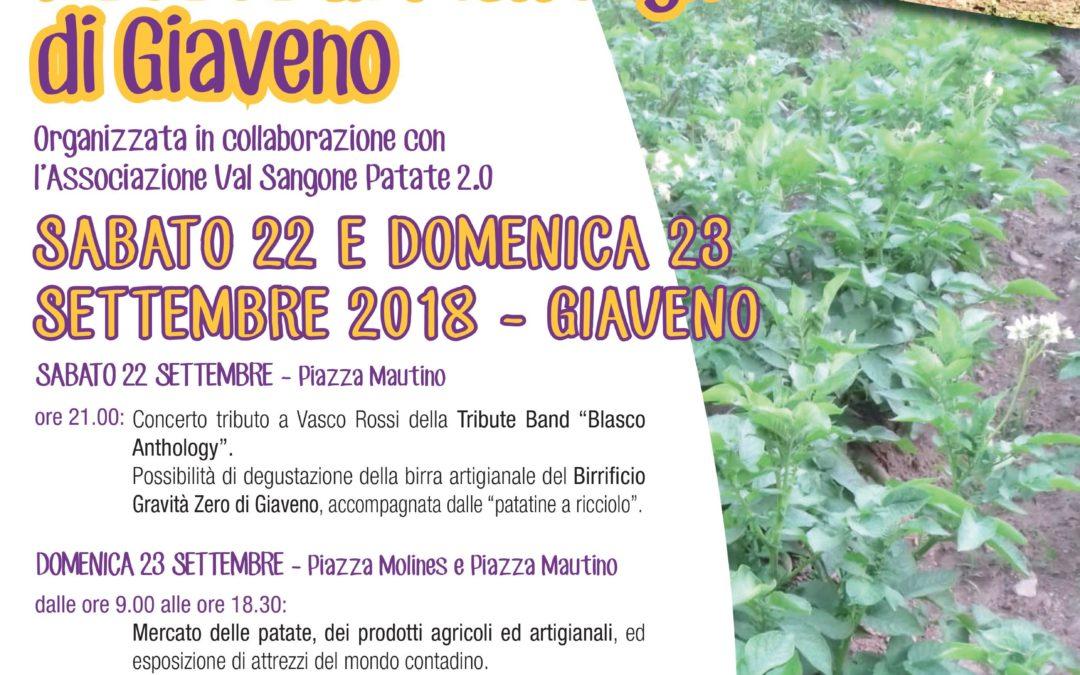 Festa della Patata di Montagna di Giaveno –  sabato 22 e domenica 23 settembre 2018