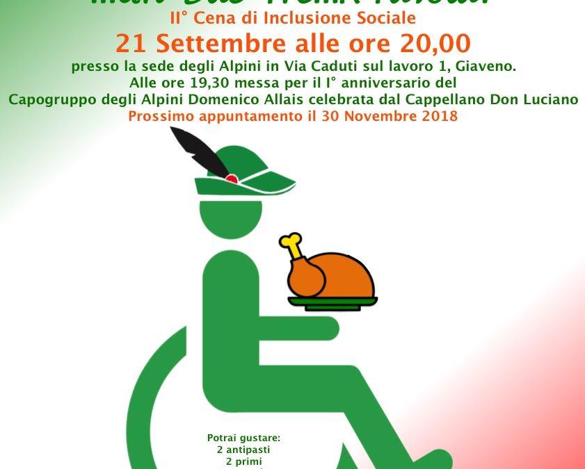 DiversAbili e Arruolati – Secondo appuntamento con  la cena di inclusione sociale – Venerdì 21 settembre 2018