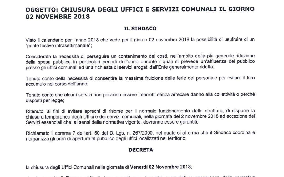 CHIUSURA UFFICI COMUNALI VENERDÌ 2 NOVEMBRE 2018