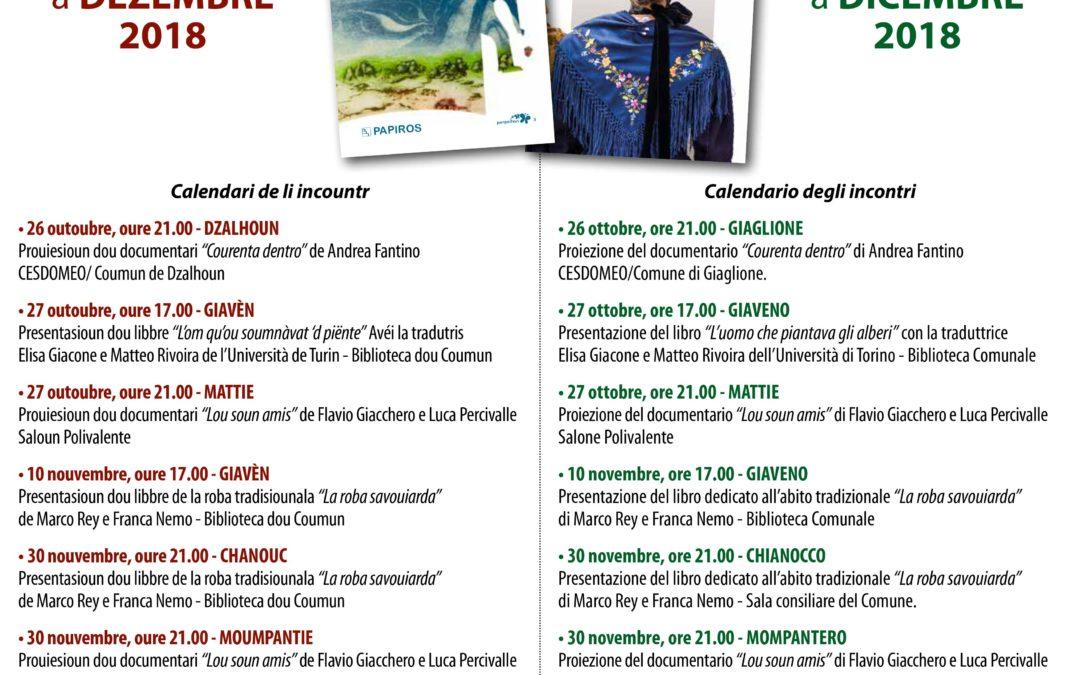 Film documentari, presentazioni di libro e nuove  creazioni in francoprovenzale – sabato 27 ottobre e sabato 10 novembre 2018
