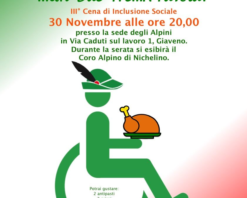 Terzo appuntamento con DiversAbili e Arruolati ..Un Due Tre .. a Tavola! venerdì 30 novembre 2018