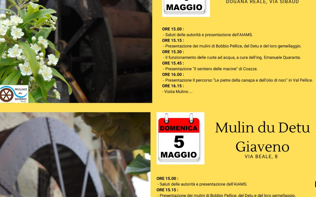 Gemellaggio fra Mulini – sabato 5 maggio 2019