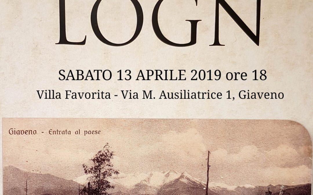 """Presentazione  del libro """"Logn"""" di Bruno Rolando – sabato 13 aprile 2019"""