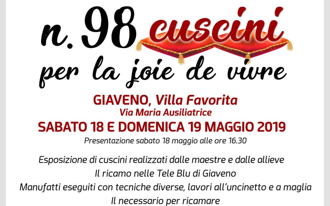 """Mostra """"N.98 Cuscini per la joie de vivre"""" – dal 18 al 19 maggio 2019"""