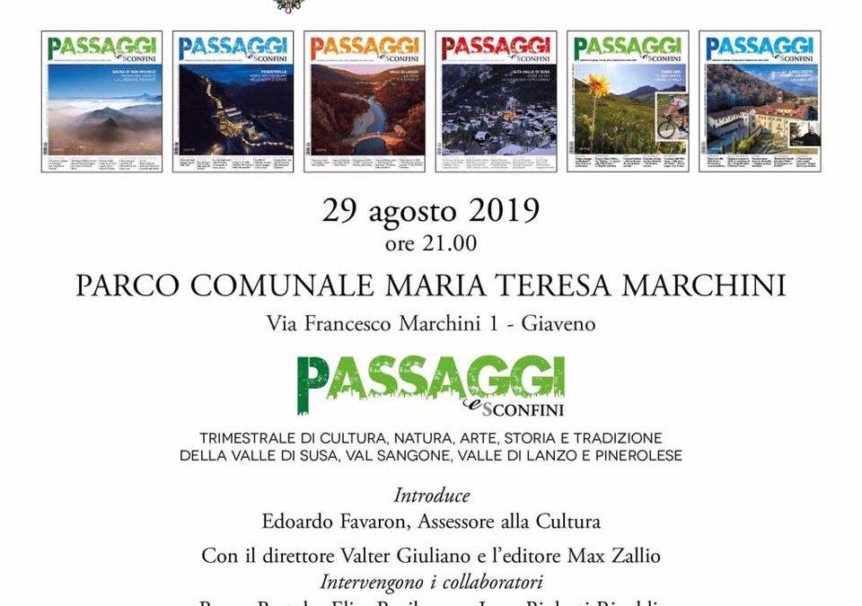 Passaggi e Sconfini – presentazione giovedì 29 agosto 2019