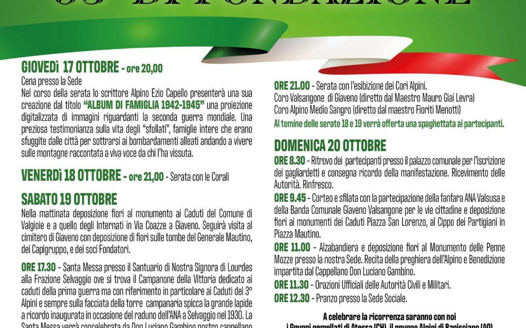 95° di Fondazione  del Gruppo Alpini Giaveno Valgioie – dal 17 al 20 ottobre 2019