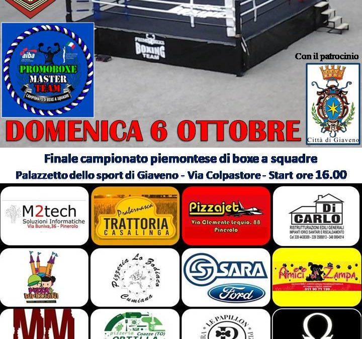 Finale Campionato Piemontese di Boxe a Squadre – Domenica 6 ottobre 2019