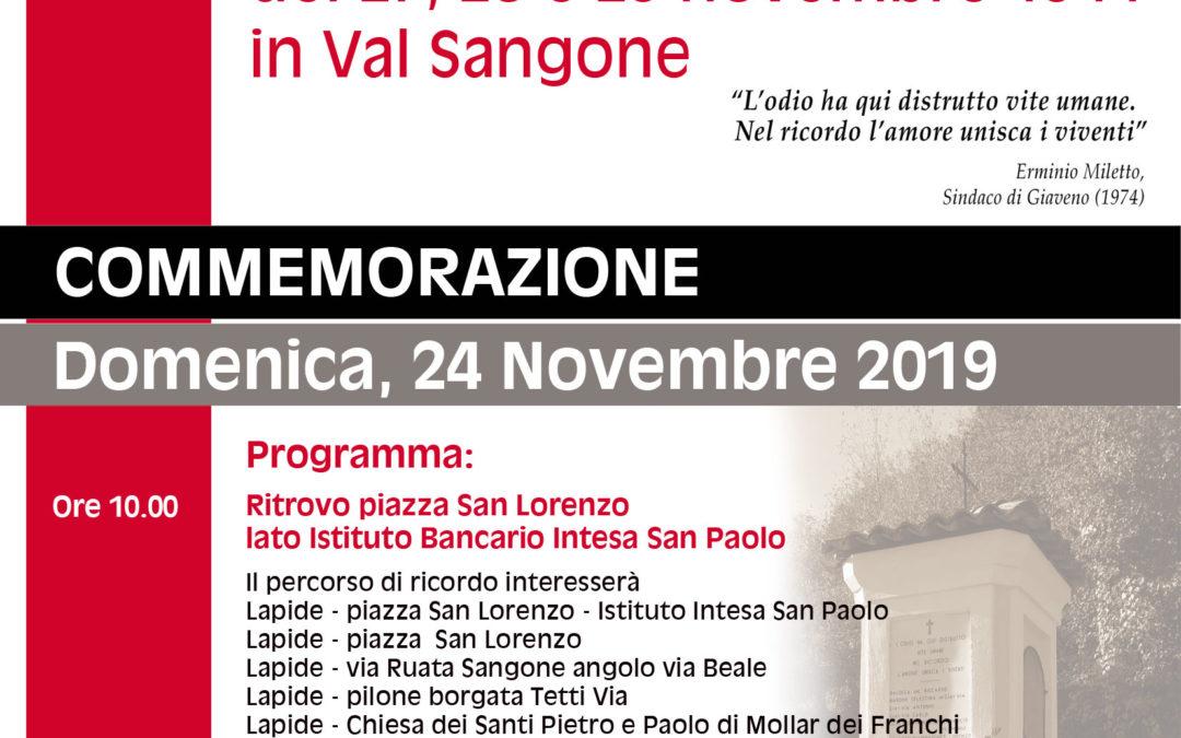 Domenica 1° Dicembre 2019 –   75° Anniversario del rastrellamento del novembre 1944 in Val Sangone