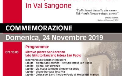 75° Anniversario del rastrellamento di novembre del 1944 in Val Sangone