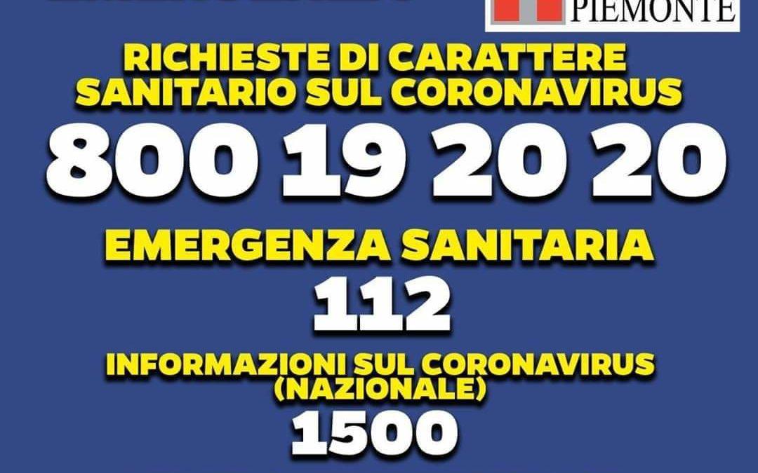 NUMERO VERDE PIEMONTE PER RICHIESTE CORONAVIRUS: 800.19.20.20