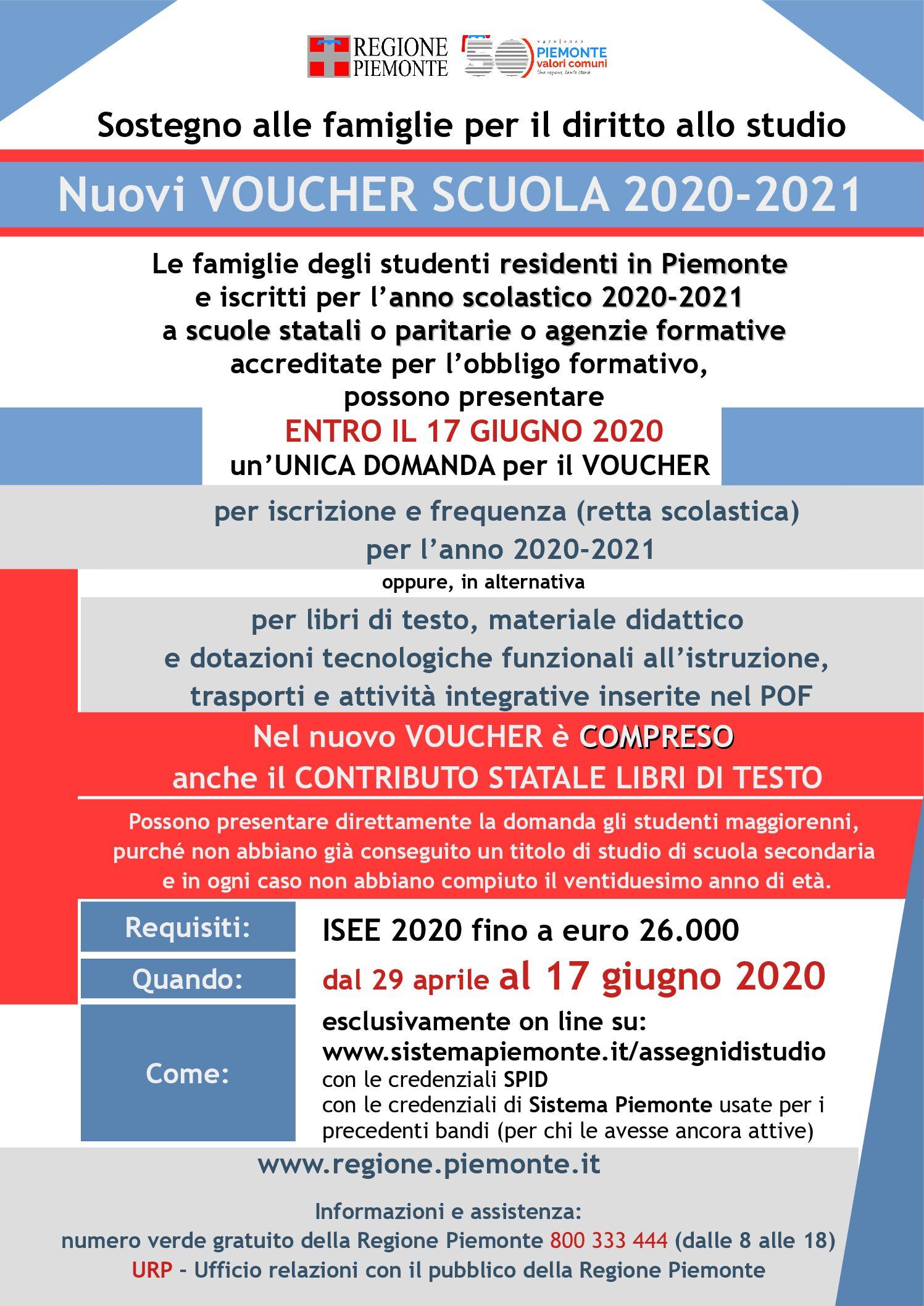 AVVISO PROROGA SCADENZA PRESENTAZIONE DOMANDA ENTRO IL 17 giugno 2020 Voucher scuola bando per l'anno scolastico 2020-2021