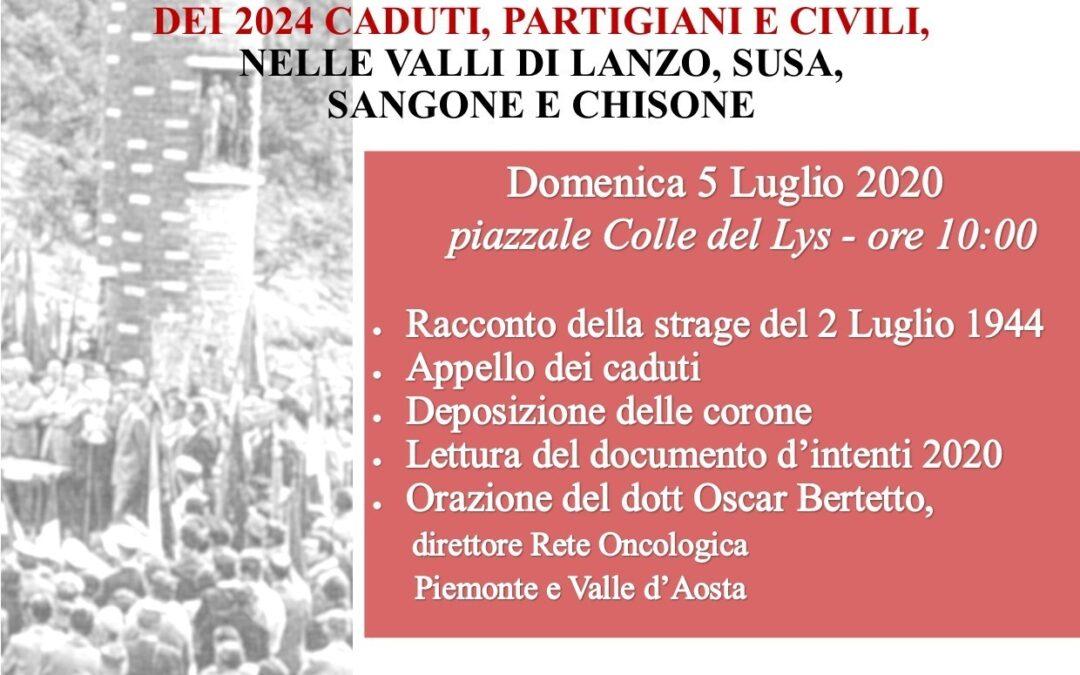 Commemorazione Colle del Lys  – domenica  5 luglio 2020  nel 75° Anniversario della Liberazione