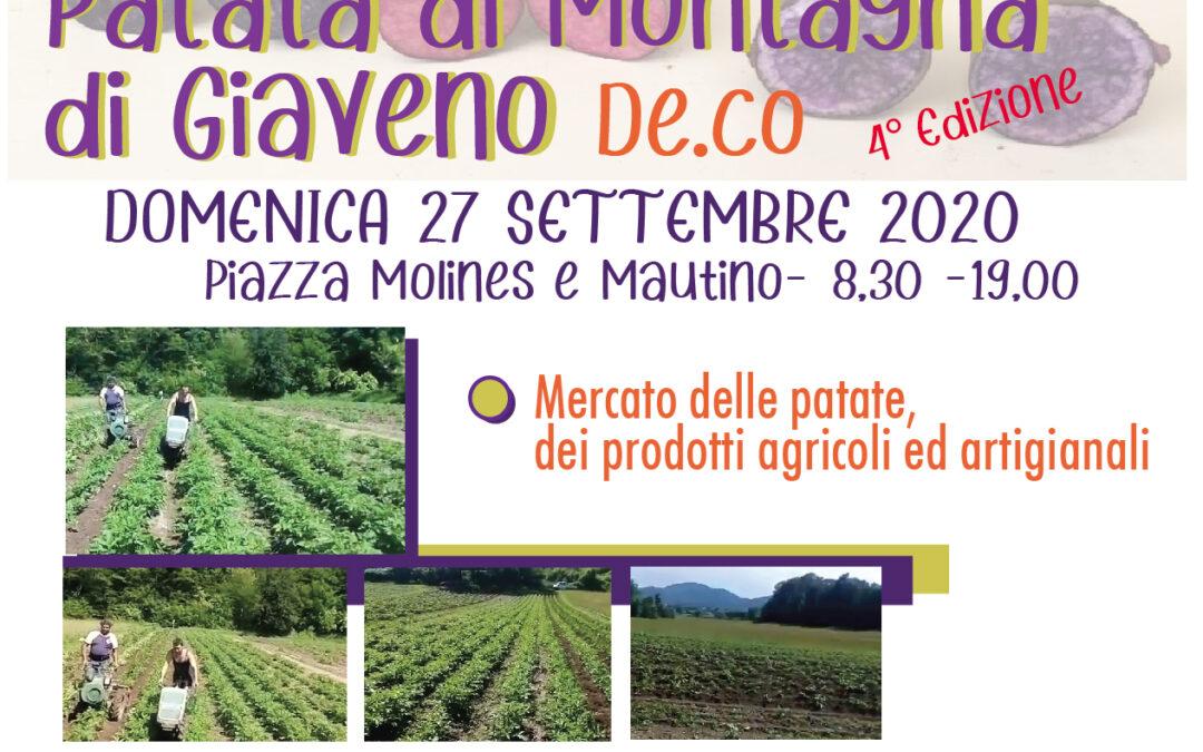 Festa della Patata di Montagna di Giaveno – IV° edizione – Domenica 27 settembre 2020