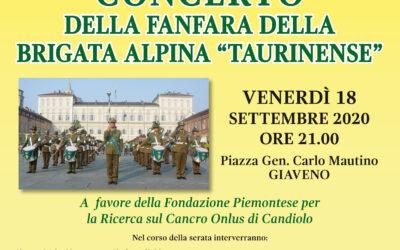 """Concerto della Fanfara della Brigata Alpina """"Taurinense""""  – venerdì 18 settembre 2020"""