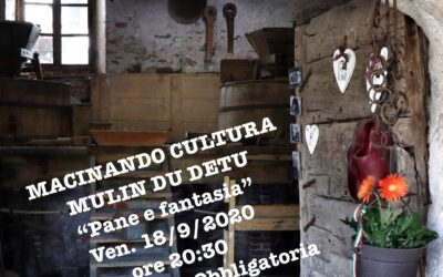 Macinando Cultura, appuntamento al Mulino Du Detu  venerdì 18 settembre 2020 alle ore 20.30