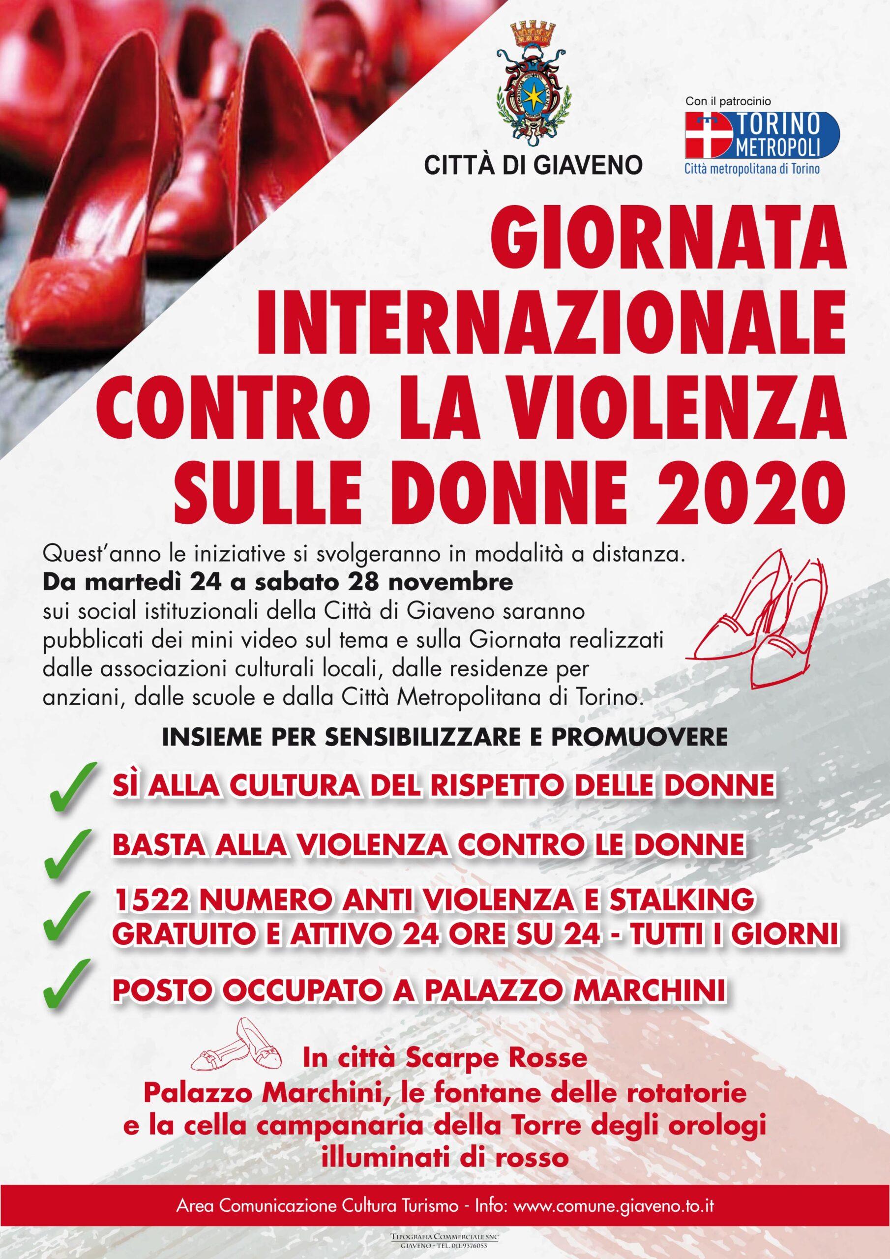 giornata internazionale contro la violenza sulle donne 2020 comune di giaveno violenza sulle donne 2020