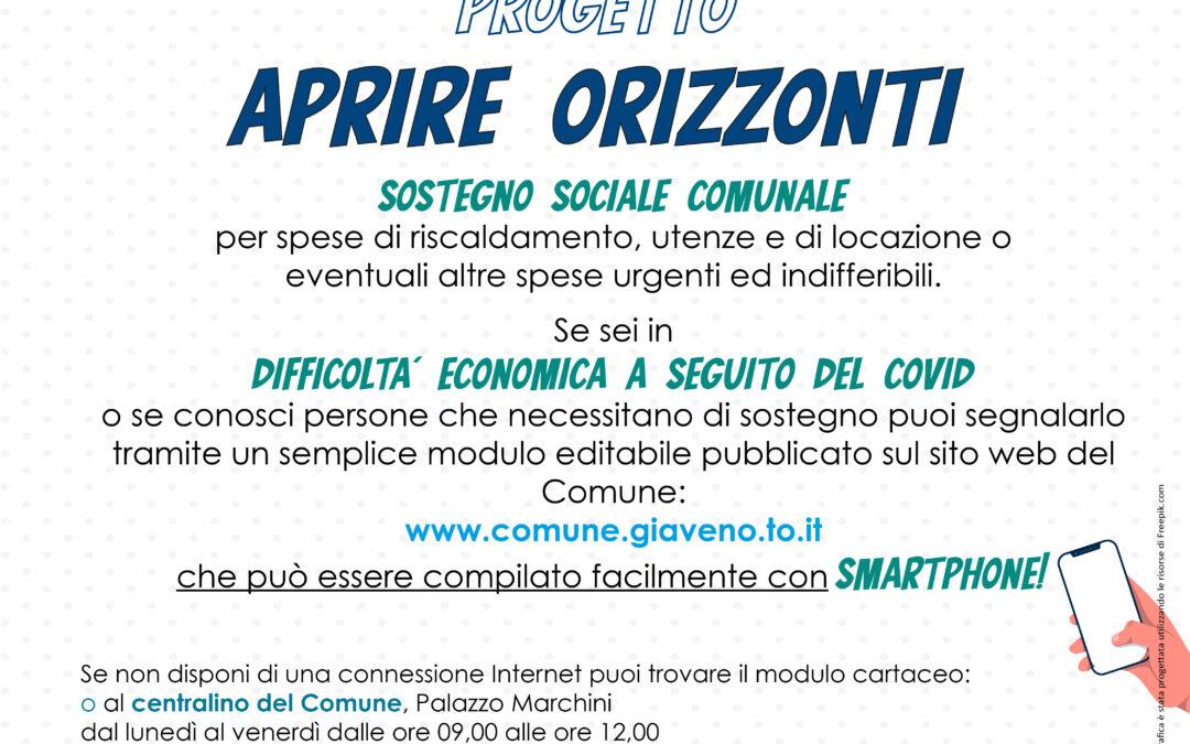 "AVVISO ""APRIRE ORIZZONTI – SOSTEGNO ALLE FAMIGLIE GIAVENESI"""