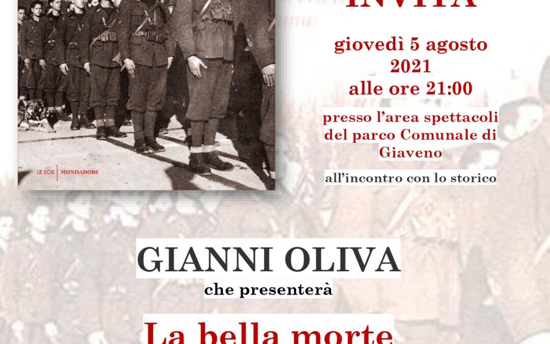 """5 Agosto 2021 ore 21 – Parco Comunale Maria Teresa Marchini: GIANNI OLIVA presenta """" La bella Morte"""""""